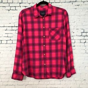 American Eagle Outfitters Plaid Shirt Blouse Pink